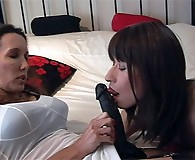 Strapon Jane makes this sexy TGirl suck her strapon hard before she wanks her TGirl cock.