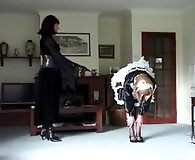 Tranny maid gets horse whipped by her mistress