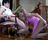 Smarten up sissy guy hikes up his skirt to give head and get butt stuffed