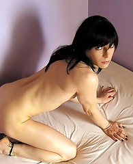 Crossdressing Steffi shows off her tight body