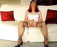 Horny Lucimay stays at home and pulls her cock until she cums